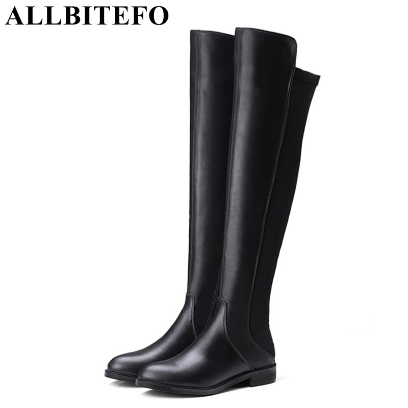 ALLBITEFO 2017 winter genuine leather+Elastic material low-heeled women boots brand thick heel over the knee boots girls boots peleg design держатель для ключей магнитный key pete зеленый