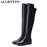 ALLBITEFO 2017 Winter Genuine Leather Elastic Material Low Heeled Women Boots Brand Thick Heel Over The