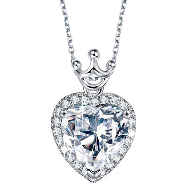 New Brand TracysWing Austrian AAA Zirconia White Gold Color Micro Inlay Fashion Crown On Heart Pendant Necklace Vintage SN682