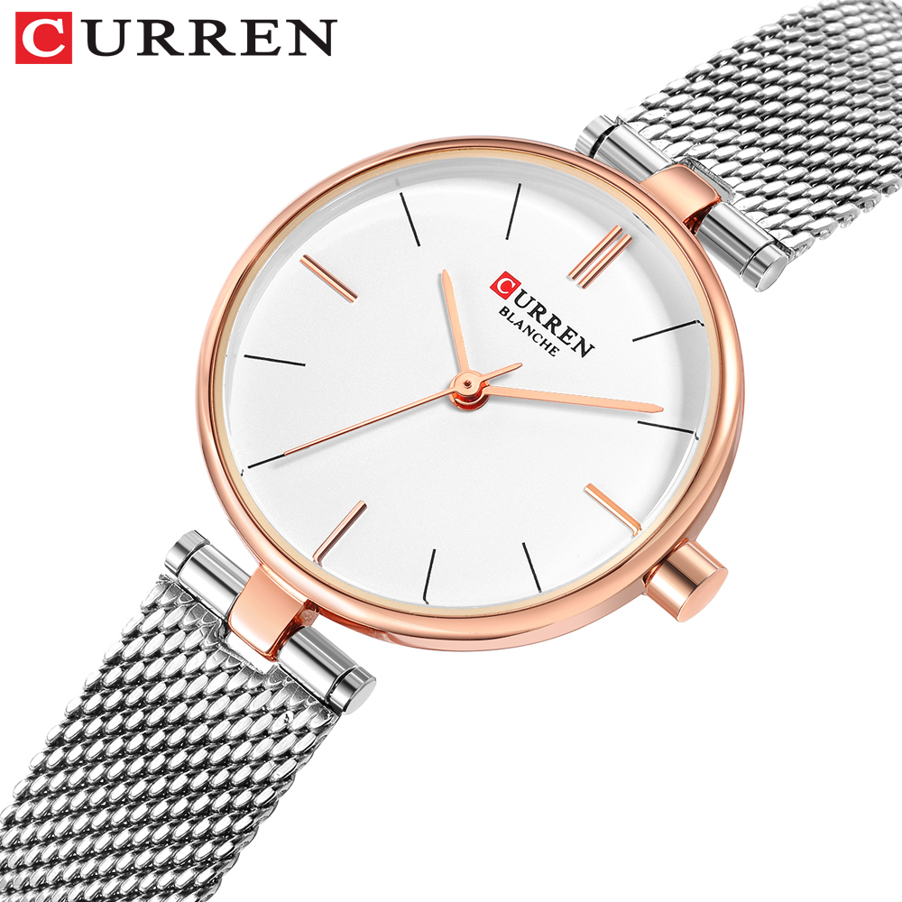 CURREN Women Watch New Quartz Top Quality Luxury Fashion Wristwatches Ladies Gift Relogio Feminino Milan Mesh Band Lady Watch