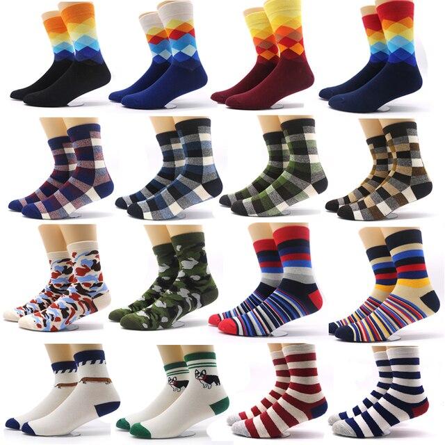 fbb922d26d437 Mode chaussettes colorées hommes impression 3D Plaid rayé chaussettes  chaussette de Compression pour hommes Camouflage décontracté Long chaud  hiver ...