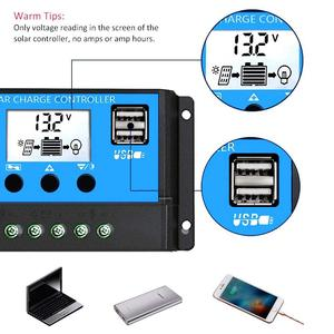 Image 3 - 60A/50A/40A/30A/20A/10A 12V 24V oto Solar şarj regülatörü PWM kontrolörleri LCD çift USB 5V çıkışı GÜNEŞ PANELI PV regülatörü