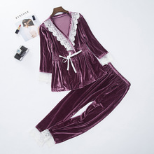 2019 pajama sets women Velvet Lace Ladies Nightgown Long Sleeves Home Wear Two Piece Set lingerie  sexy pajamas  pyjamas mujer purple lace details long sleeves low waisted lingerie sets