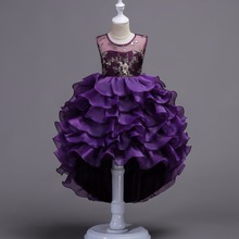 Kids Clothes Girls Flower tutu Dress Children Girl Embroidery Party Dress Baby Princess Sequined Swallow tail Wedding dress