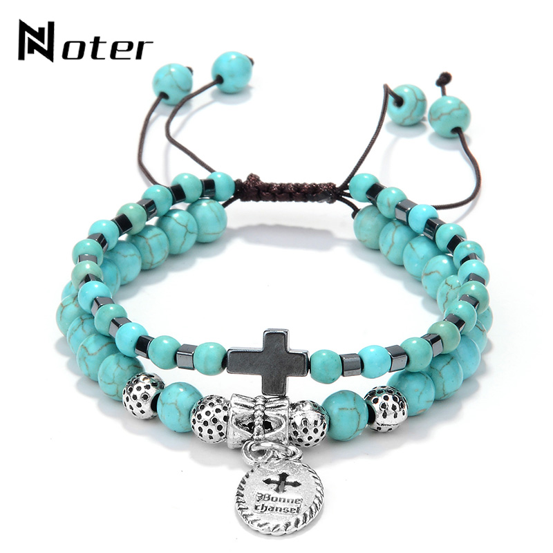 Boho Vintage Silver Ethnic Jewelry Double Layer Adjustable Natural Stone Bracelet For Men Women Cross Braslet Friendship Gift