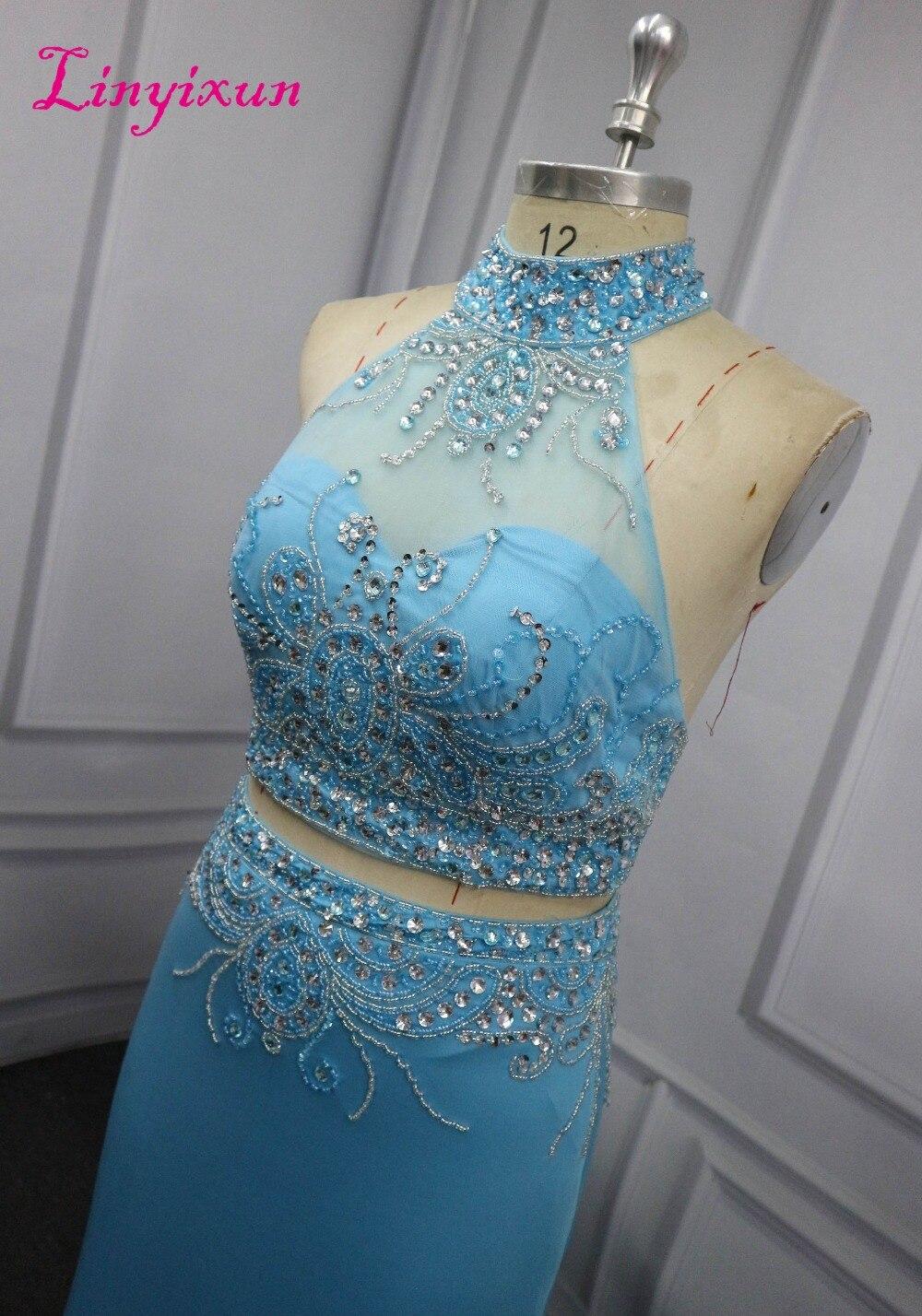 Kristall Lange Kleider Abschlussball 2018 Sexy Ine Zweiteiler Ärmellosen Chiffon Mit Linyixun partei Halter A Perlen Abendkleid Kleid Prom twYA46