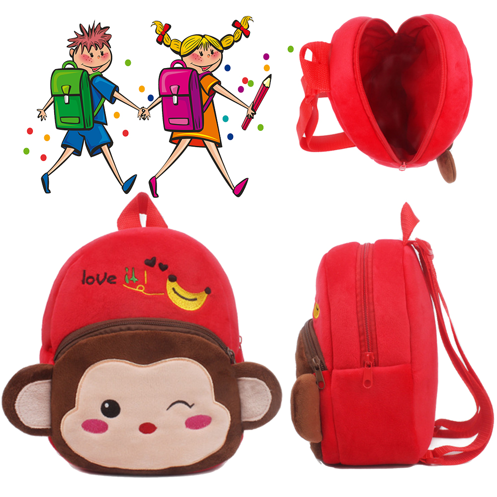 Baby New Years Toys Chidren Plush Backpack Toy for Kids Mini School Bag Cute Cartoon Monkey