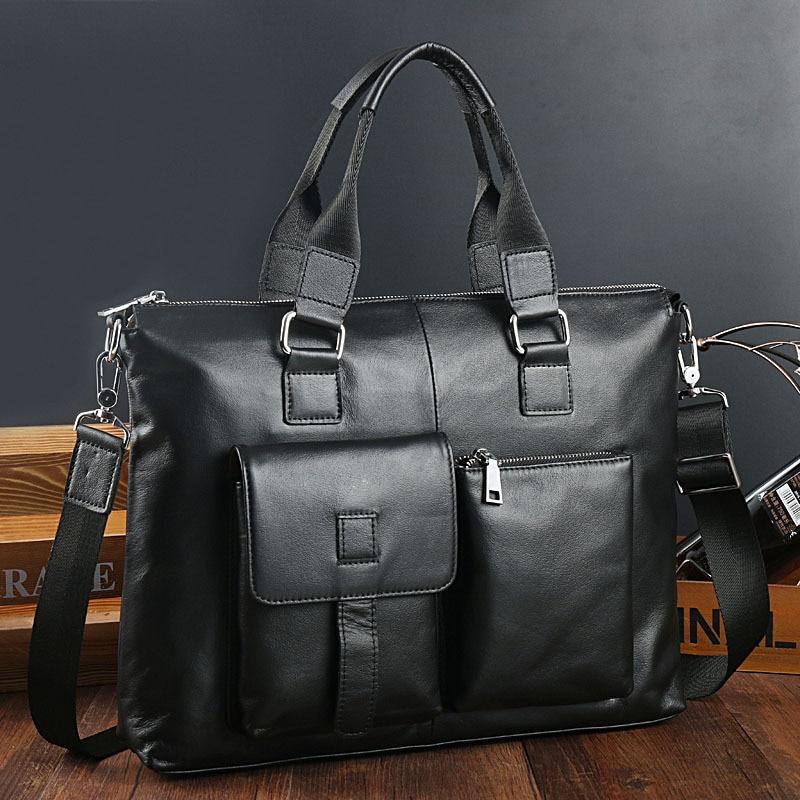 Joyir nuevos hombres maletines de cuero genuino ocio hombres bolsa de negocios 14 pulgadas ordenador portátil bolsas de oficina para hombres negro-in Carteras from Maletas y bolsas    2