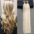 Full Shine Natural Keratin Capsule Pre-bonded U Nail Tip Hair Extensions Piano Color 18/613 Caramel Blonde & Blonde Human Hair