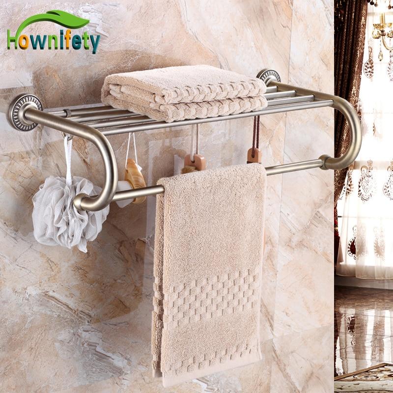 Antique Bronze Soild Brass Bathroom Towel Shelf Wall Mount Towel Bar Bathroom Accessories