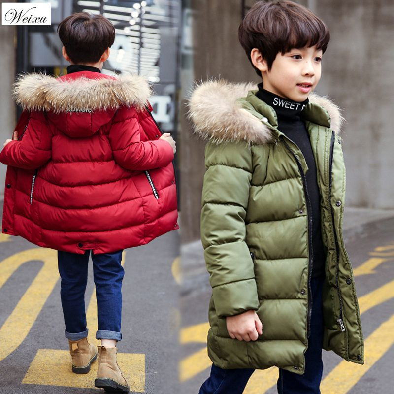 Winter Baby Coat Boy Fur Collar Hooded Kids Down Cotton Warm Long Winter Coat Children Boys Thickening Outerwear Parks Clothes tnlnzhyn women s clothing cotton coat winter new fashion big yards hooded fur collar thickening female cotton outerwear wu21
