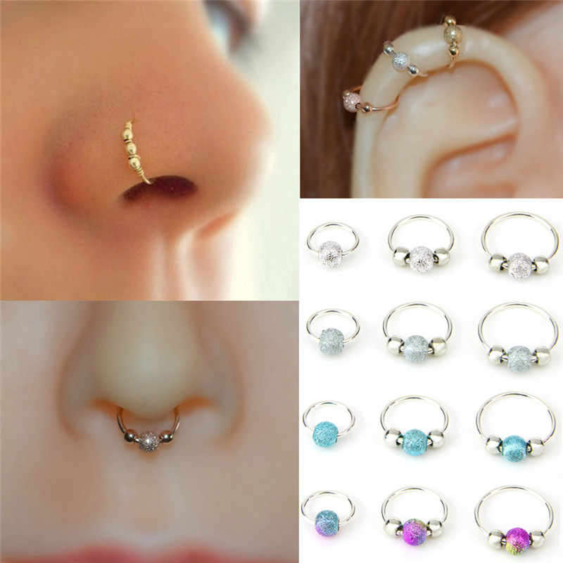 1pcs Retro Round Beads Nose Ring Stud Ear Nostril Hoop Body Rose Gold Silver Piercing Jewelry Aliexpress