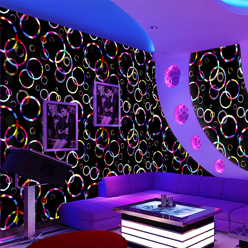 Entertainment place bar magic lights flash circle wallpaper wall cloth hotel restaurant song dance halls home decoration TV back home entertainment system