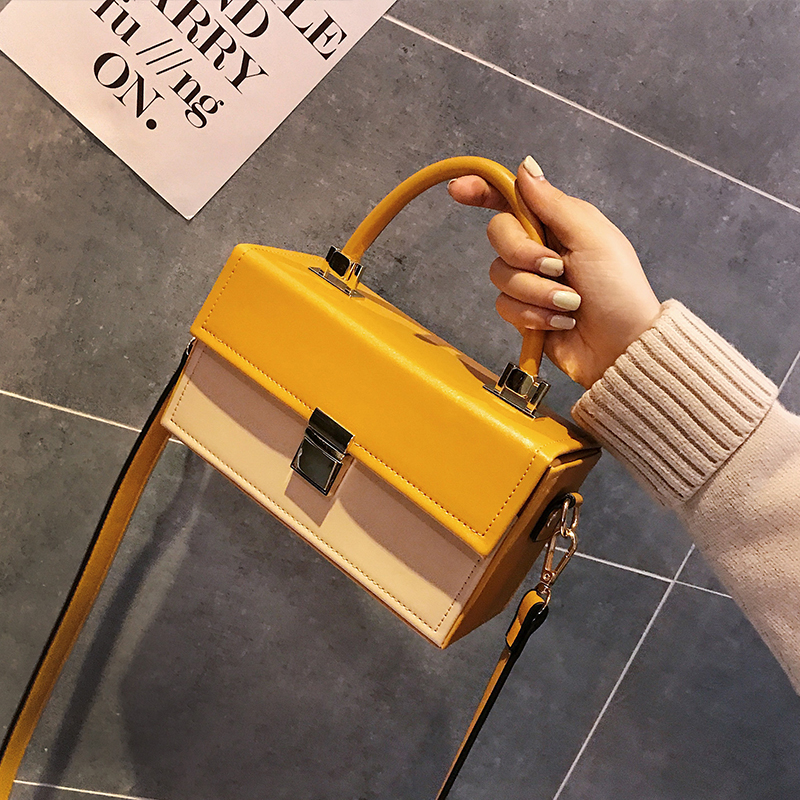 Celebrity Women Shoulder Bag Box Luxury Handbags Women Bags Designer Hard Female Leather Handbag Lock Personality Yellow PursesCelebrity Women Shoulder Bag Box Luxury Handbags Women Bags Designer Hard Female Leather Handbag Lock Personality Yellow Purses