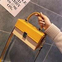 Celebrity Women Shoulder Bag Box Luxury Handbags Women Bags Designer Hard Female Leather Handbag Lock Personality Yellow Purses