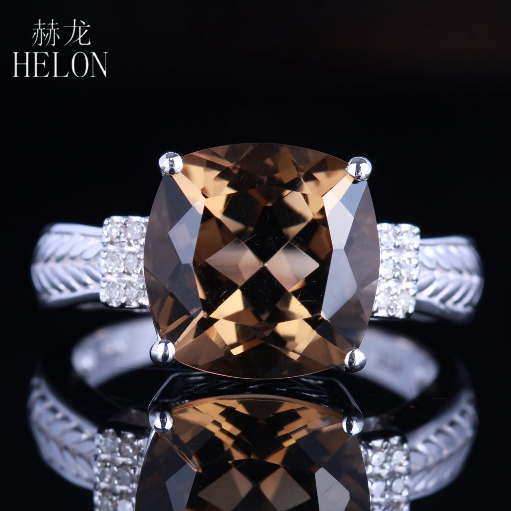 HELON 14K White Gold Certified Cushion 4.78ct Smokey Quartz Topaz Ring Engagement Diamonds Ring For Women Romantic Gift Jewelry все цены