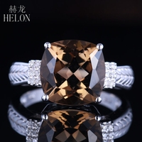 HELON 14K White Gold Certified Cushion 4.78ct Smokey Quartz Topaz Ring Engagement Diamonds Ring For Women Romantic Gift Jewelry