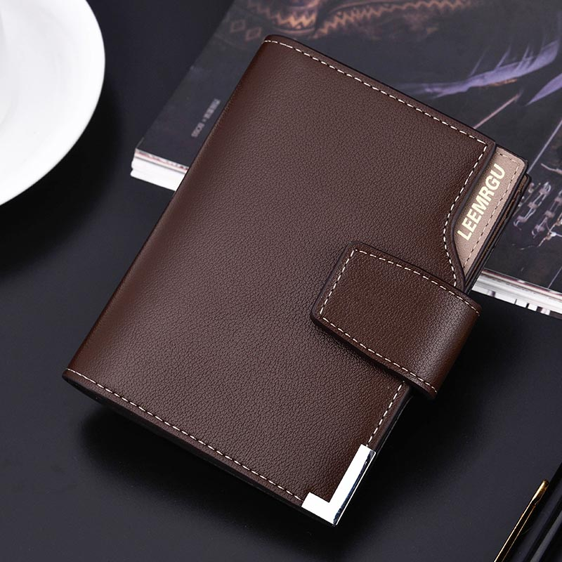 PU Wallet Short Coin-Purses Credit-Card-Holder Zipper Black Male Hasp Men Casual
