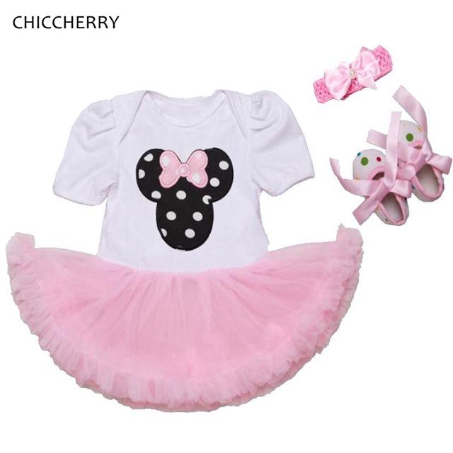 Minnie baby girl roupas de verão princesa 3 pcs infantil lace tutu dress headband set vestido de bebe festa de aniversário da criança outfits