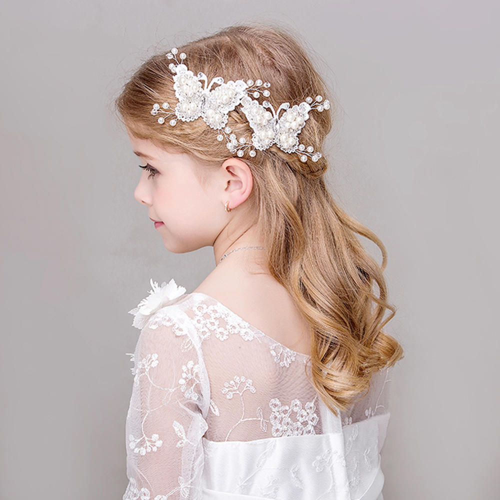 White Simulated Pearl Butterfly Barrettes Hair Clips