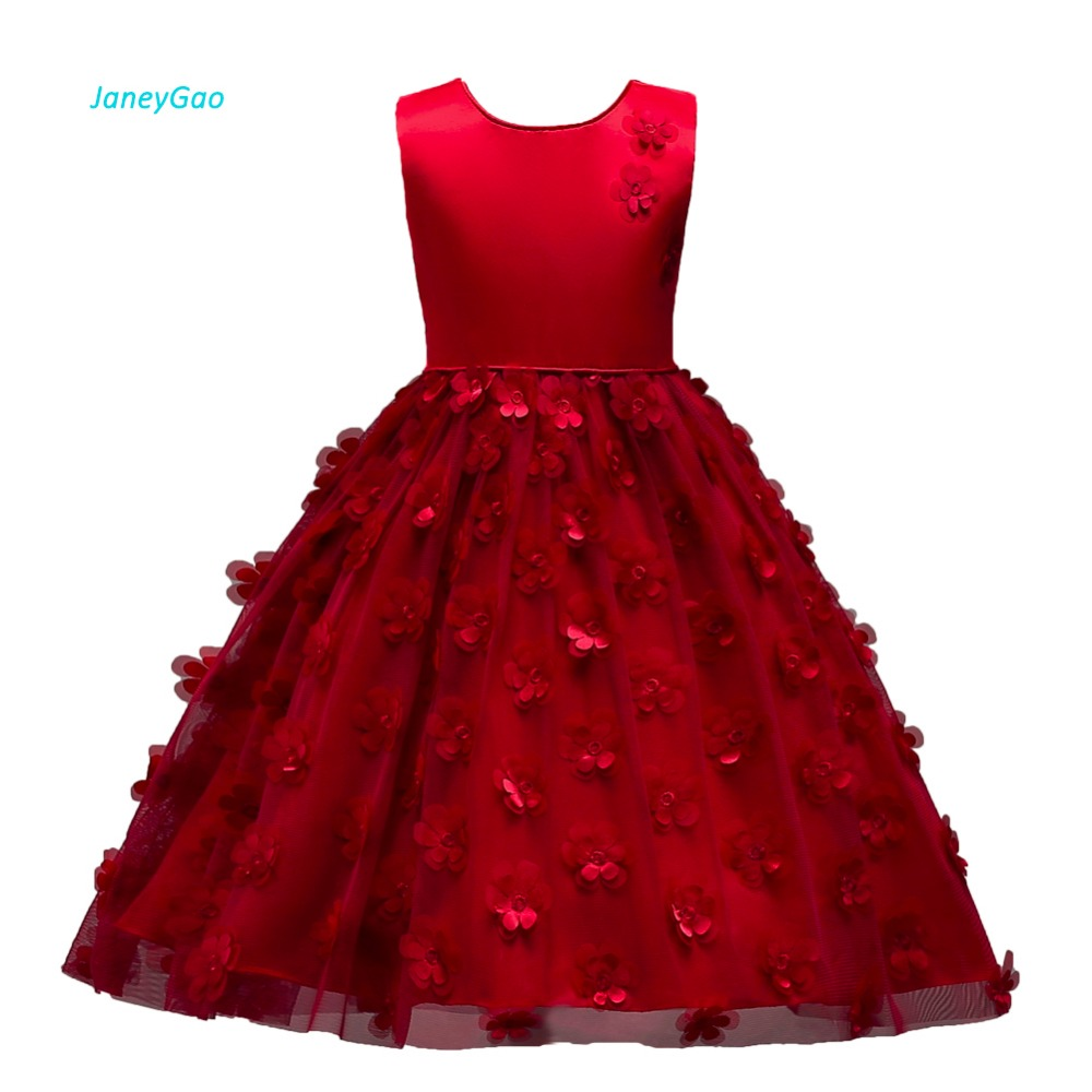 JaneyGao   Flower     Girl     Dress   For Wedding Party Wine Red Little   Girl   Formal   Dress   With Appliques Cute Kids Formal Wear In Stock