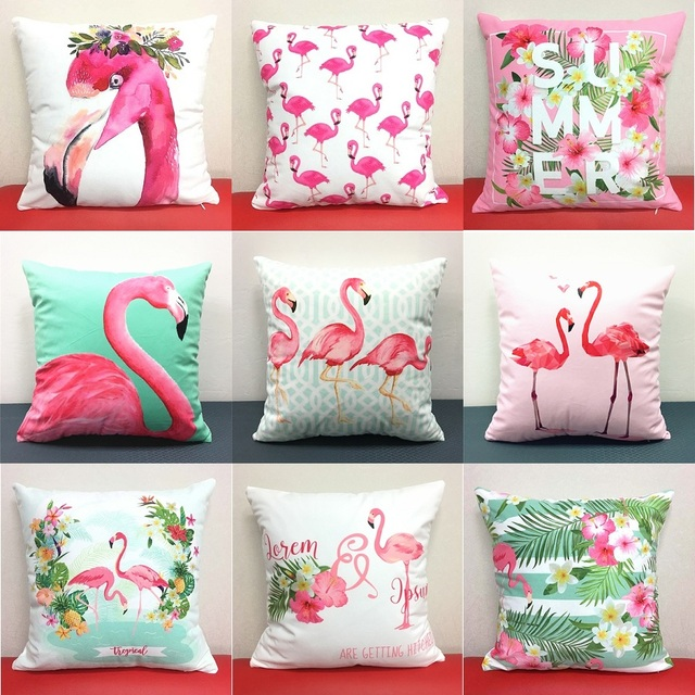 Flamingo Birds Cushion Cover 21 Styles Flower Tropical Plant Soft Pillow Covers Pillow Case 40X40cm Bedroom Sofa Decoration