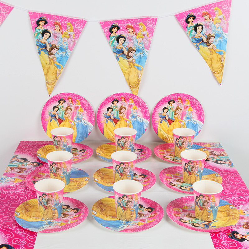 Us 10 5 40 Off 51pcs Princess Theme Party Supplies Decoration For 20 Kids Girls Paper Cup Plate Banner Bunting Tablecloth Set In Disposable Party