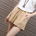 Candy Color Linen Summer Shorts For Women Street Style Elastic Waist Palazzo Shorts Plus Size Casual High Shorts