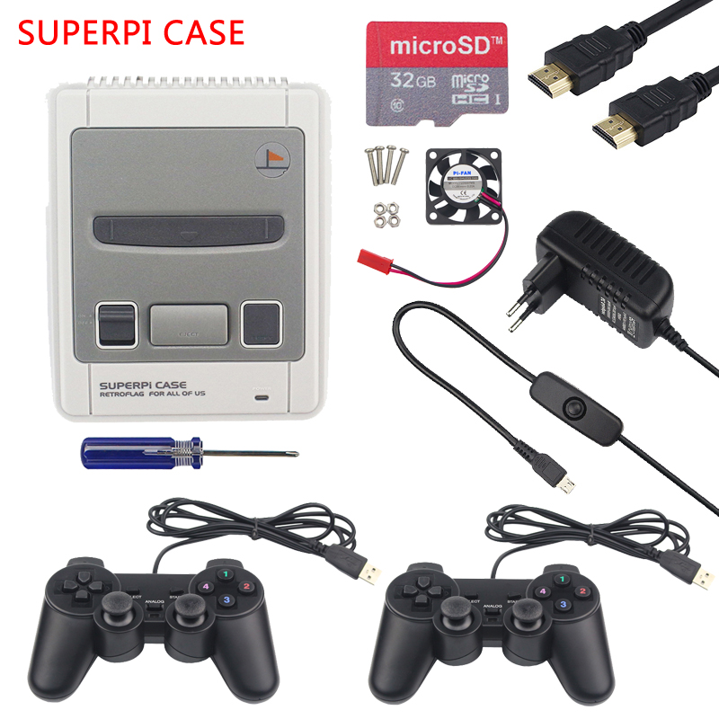 Raspberry Pi 3 Retroflag SUPERPi Case NESPi Gaming kit with CPU Fan and 2pcs Game Controller