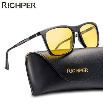 RICHPER ראיית לילה רכב נהיגה משקפי שמש גברים מקוטב מותג מעצב כיכר שמש משקפיים זכר יוניסקס Eyewear Oculos דה סול