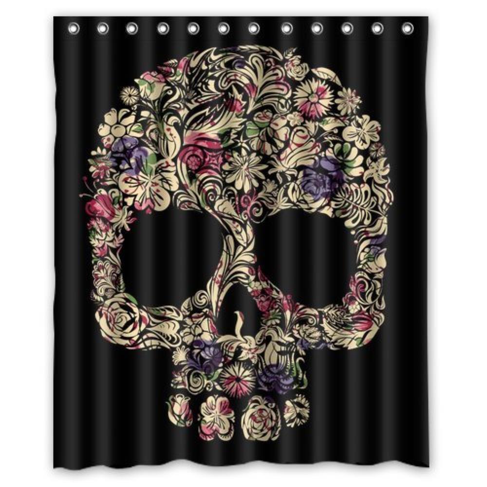 Skull Shining Shower Curtain Pattern Customized Shower Curtain Waterproof Bathroom Fabric Shower Curtain For Bathroom