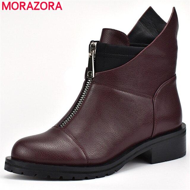 MORAZORA 2020 ชุดว่ายน้ำใหม่ผู้หญิงรองเท้ารอบToeรองเท้าฤดูใบไม้ร่วงฤดูหนาวสแควร์ส้นรองเท้าบูทซิปรองเท้าข้อเท้า