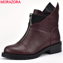 MORAZORA 2020 new Restor women boots round toe autumn winter boots square heels dress shoes  boots zipper ankle boots