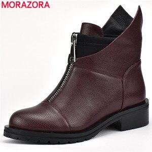 Image 1 - MORAZORA 2020 جديد ريستور النساء الأحذية جولة تو الخريف الشتاء الأحذية مربع الكعب فستان أحذية الأحذية سستة حذاء من الجلد