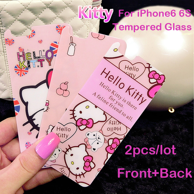2pcs/lot Front+Back Hello kitty Color film Tempered Glass Protective Film For iPhone5 5s 5se 6 6S 6Plus Cover Screen Protector
