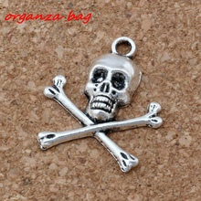 Hot  ! 100 PCS Ancient silver Zinc Alloy PIRATE SKULL AND CROSSBONES charms Pendant 20*24mm DIY Jewelry A-128