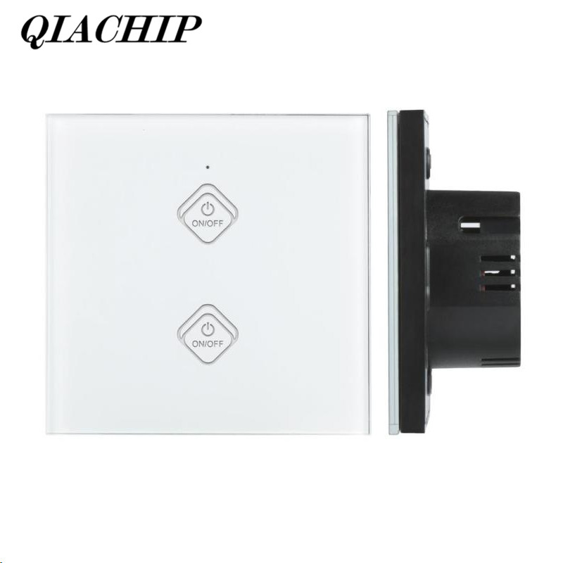 QIACHIP 2 Gang WiFi Smart Switch Work With Amazon Alexa Google Home Timing Function Touch Panel w/ APP Remote Control EU Plug ewelink us type 2 gang wall light smart switch touch control panel wifi remote control via smart phone work with alexa ewelink