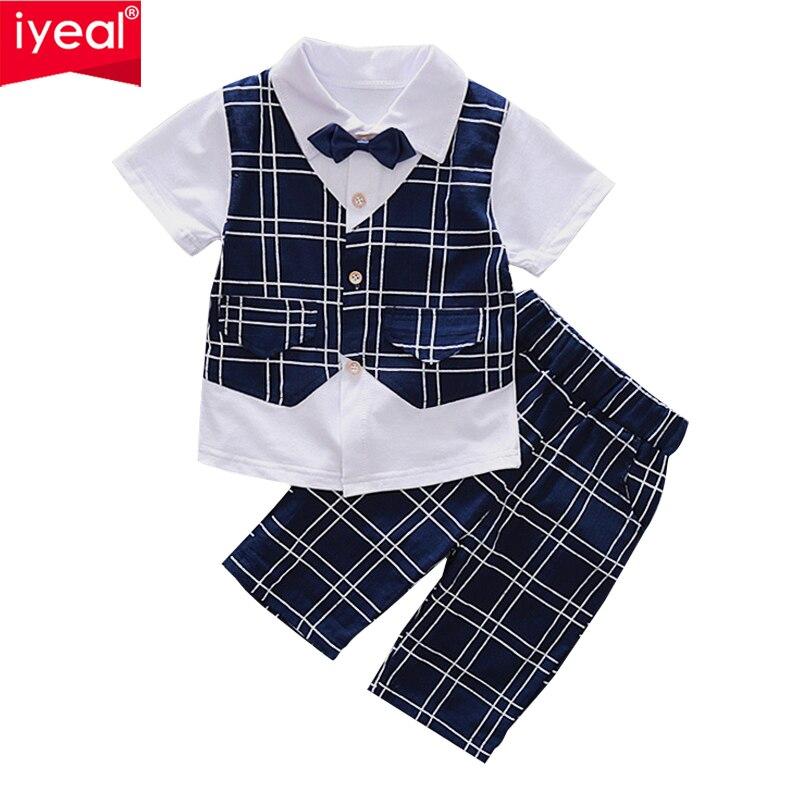 Iyeal Новый 2018 комплект летней одежды для мальчиков детские для маленьких мальчиков клетчатые джентльменские рубашки + брюки Модная детская о... ...