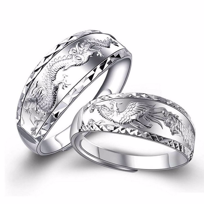 Silver 925 ring gold Silver 925 Jewelry Costume Jewelry Rings Sterling silver dragon and phoenix couple two-piece set 7g 5885