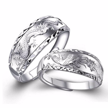 Silver 925 ring gold Jewelry Costume Rings Sterling silver dragon and phoenix couple two-piece set 7g 5885