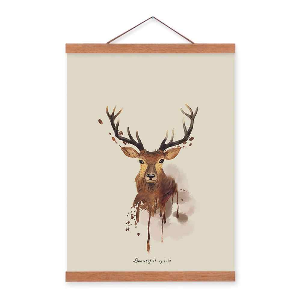 Triptych Watercolour Deer Frame Pictures Retro Countryside Reminiscent Decorative Painting for Living Room Bedroom