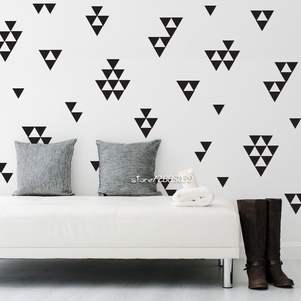 unidsset gran tringulo negro pegatinas de pared de vinilo etiquetas de la pared del papel pintado impermeable hogar creativ