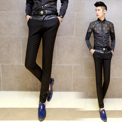 Buy New 2014 Fashion Leather Patch Mens Black Slim Pant Nylon Cotton British
