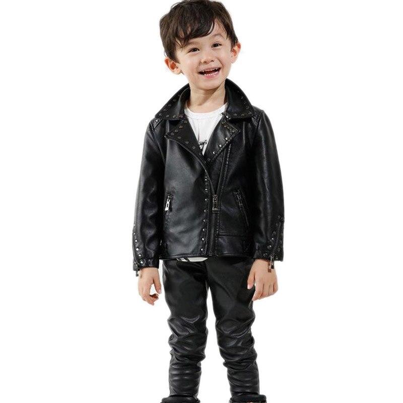 f6bb941186c2 2018 nueva vuelta abajo Collar Revit Kids PU chaquetas de cuero clásico  cremallera oblicua motocicleta chaqueta ocasional de los niños chaquetas de  cuero