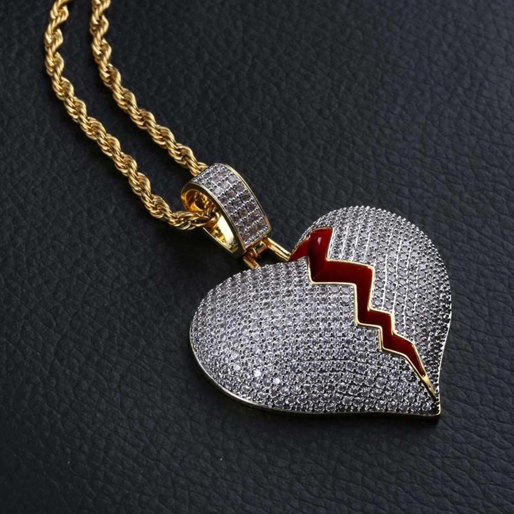 TOPGRILLZ stałe złamane serce Lced Out naszyjnik i wisiorek urok dla kobiet mężczyzn złoty kolor Cubic naszyjnik cyrkoniowy Hip Hop biżuteria