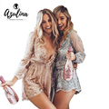 AZULINA Sexy Sequin Embroidery Loose Women Short Jumpsuit Romper Rose Glod Lace Mesh Overalls Deep V neck Long Sleeve Playsuit