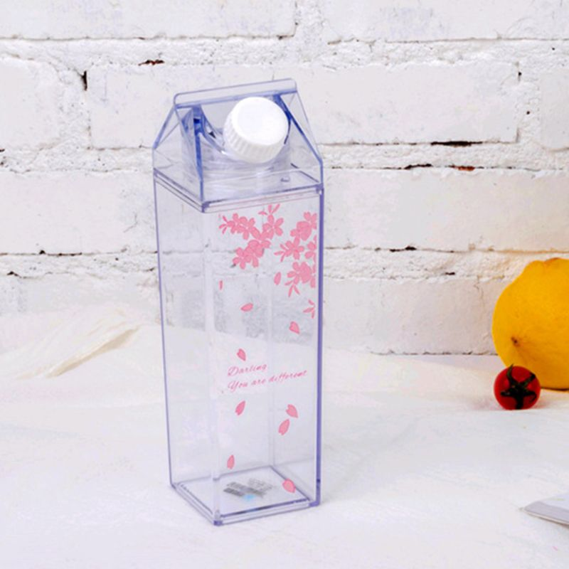 Portable Water Bottle Milk Storage Sakura-Print Strawberry-Print Sports Drinking Clear Cup For Home School Office