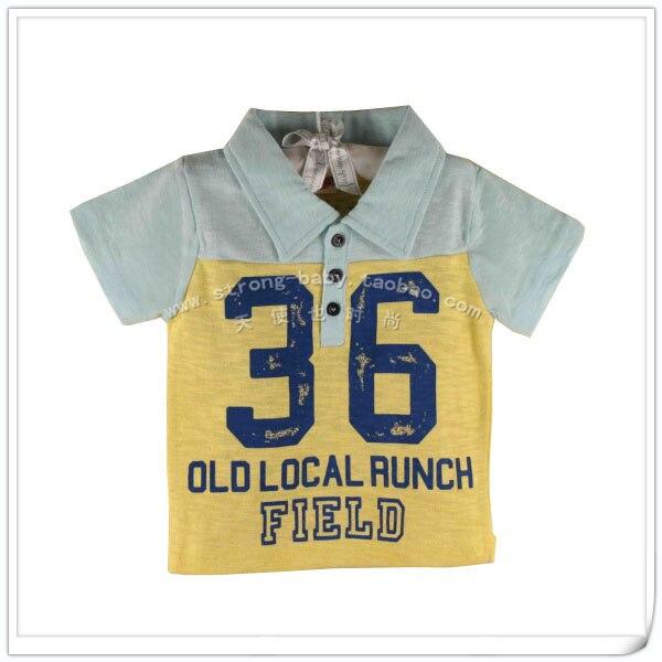 Children's clothing child summer short-sleeve T-shirt male child yellow digital