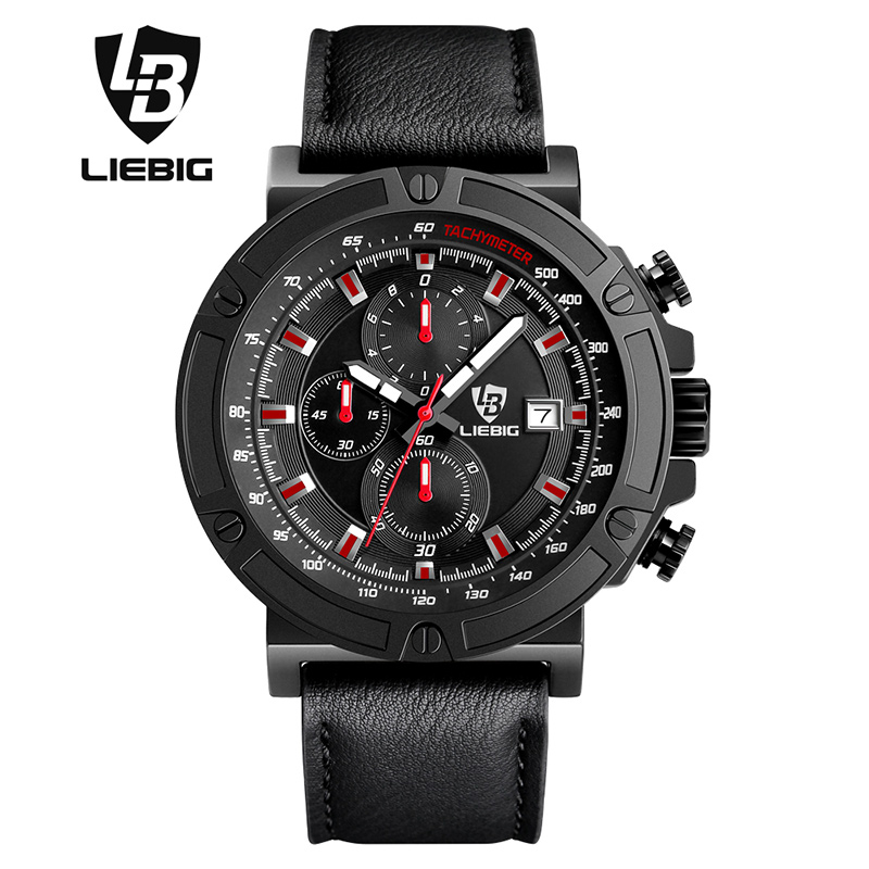 LIEBIG Brand Men Watches Male 50M Waterproof Quartz Watch With Calendar For Outdoor Sport Leather Strap Relogio Masculino 1014 6pcs lot good quality 7 12w mini rgbw led moving head light laser christmas party lights 12 months warranty