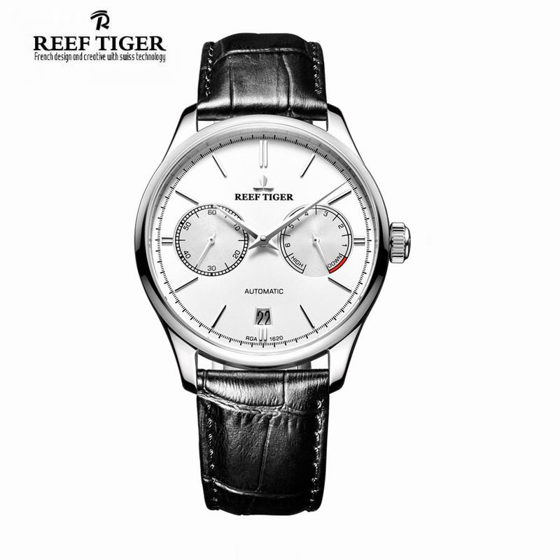 Reef Tiger brand luxury Casual Stylish watch relojes hombre Automatic Date Watches Men's Steel Power Reserve relogio masculino